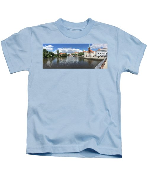Embankment Of Trave In Luebeck Kids T-Shirt