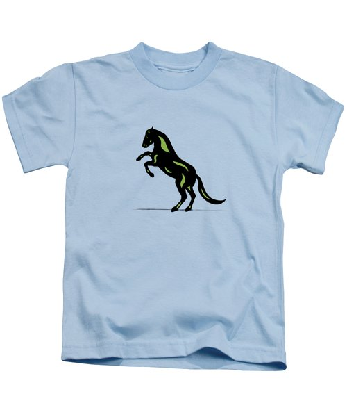 Emma - Pop Art Horse - Black, Greenery, Island Paradise Blue Kids T-Shirt