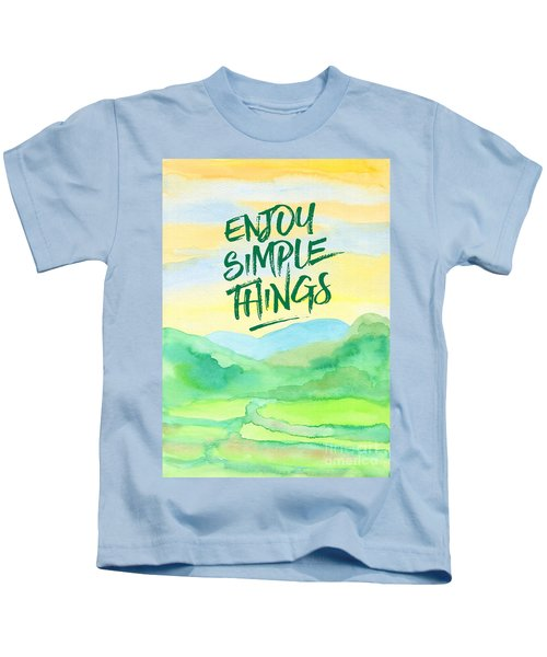 Enjoy Simple Things Rice Paddies Watercolor Painting Kids T-Shirt