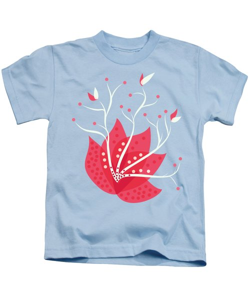 Exotic Pink Flower And Dots Kids T-Shirt