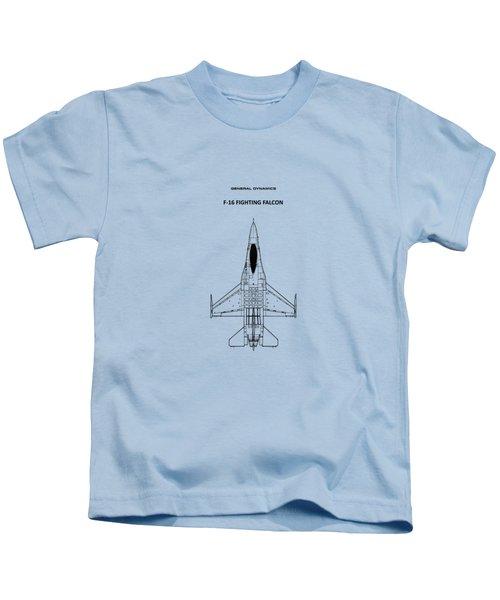 F-16 Fighting Falcon Kids T-Shirt by Mark Rogan