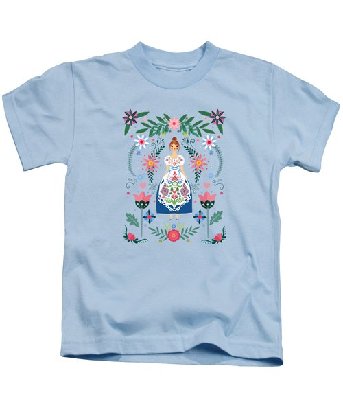 Fairy Tale Folk Art Garden Kids T-Shirt