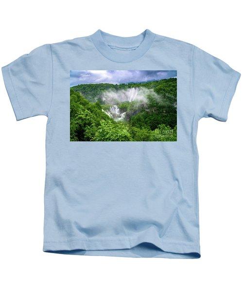 Falls Through The Fog - Plitvice Lakes National Park Croatia Kids T-Shirt
