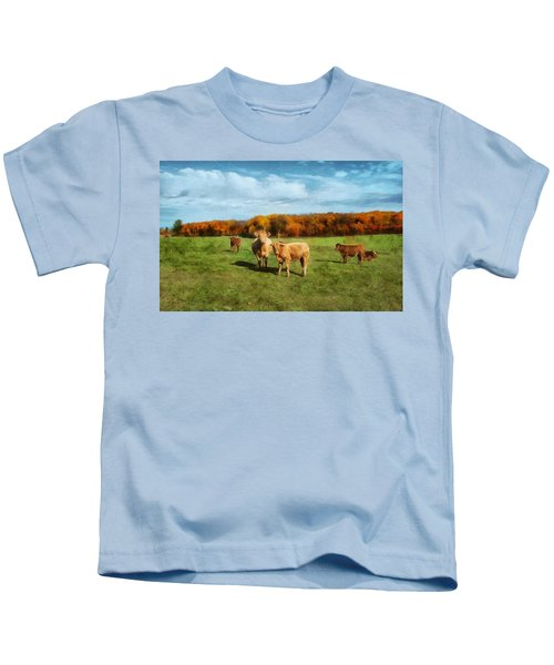 Farm Field And Brown Cows Kids T-Shirt