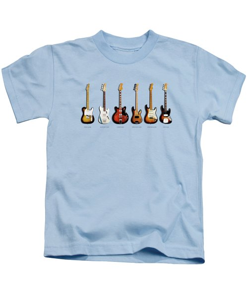 Fender Guitar Collection Kids T-Shirt by Mark Rogan