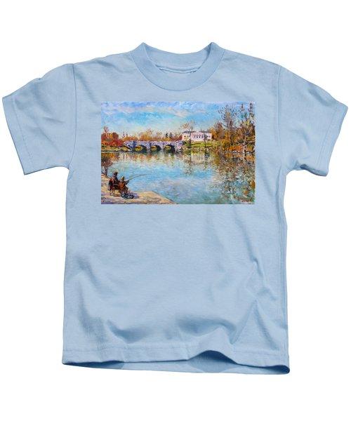 Fishing Day By Delaware Lake Buffalo Kids T-Shirt