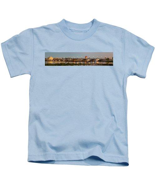 Flagler Bridge In Lights Panorama Kids T-Shirt