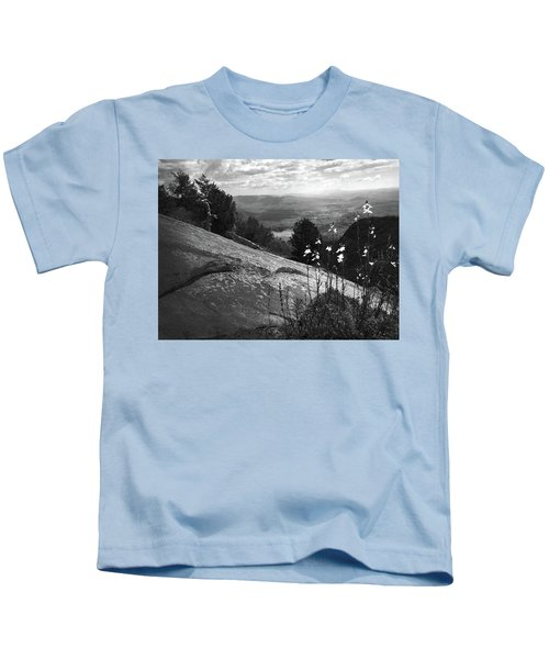 Flowers At Table Rock Overlook In Black And White Three Kids T-Shirt