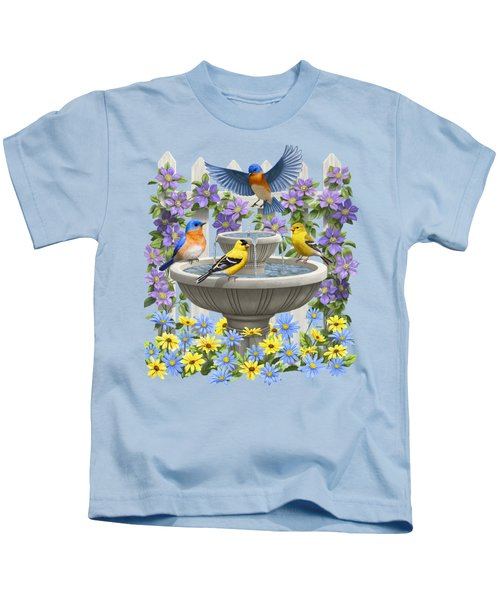 Fountain Festivities - Birds And Birdbath Painting Kids T-Shirt by Crista Forest