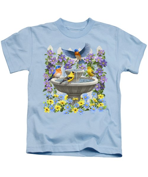 Fountain Festivities - Birds And Birdbath Painting Kids T-Shirt