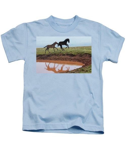 Fun In The Rockies- Wild Horse Foals Kids T-Shirt