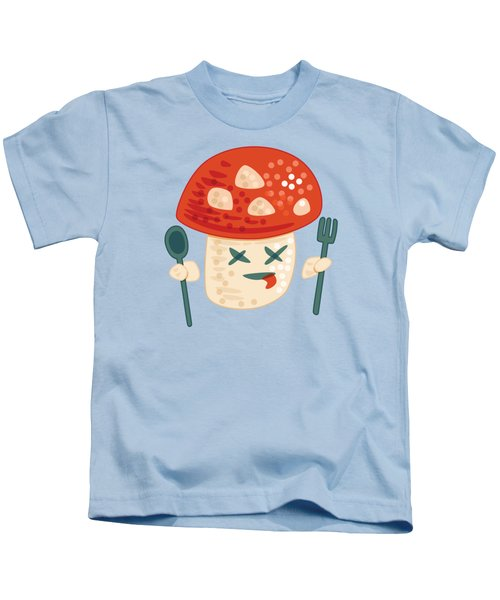 Funny Poisoned Mushroom Character Kids T-Shirt