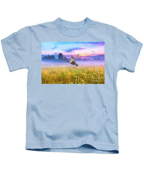 Geese In The Mist Kids T-Shirt