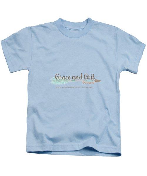 Grace And Grit Logo Kids T-Shirt by Elizabeth Taylor
