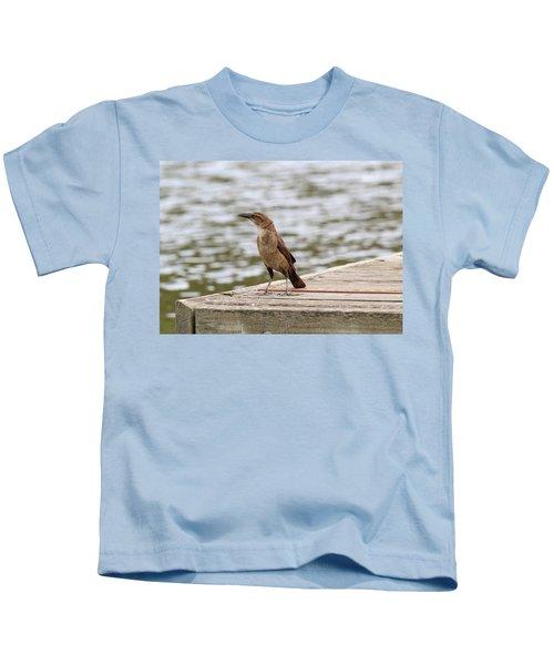 Grackle On A Dock Kids T-Shirt