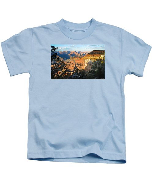 Grand Canyon South Rim - Sunset Through Trees Kids T-Shirt