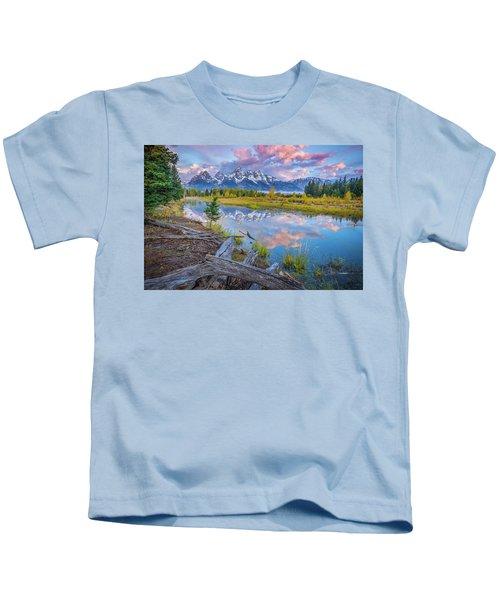 Grand Teton Sunrise Reflection Kids T-Shirt
