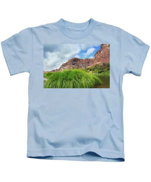 Grass Along John Day River In Central Oregon Kids T-Shirt