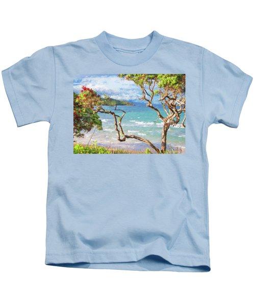 Great Barrier Island New Zealand View Painterly Kids T-Shirt
