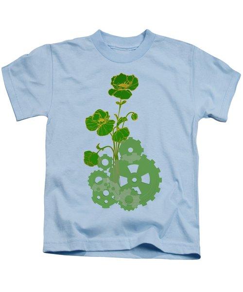 Green Mechanical Flowers Kids T-Shirt