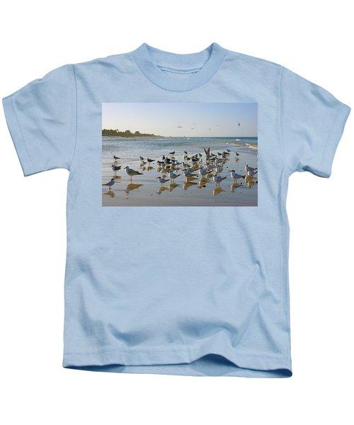 Gulls And Terns On The Sanbar At Lowdermilk Park Beach Kids T-Shirt