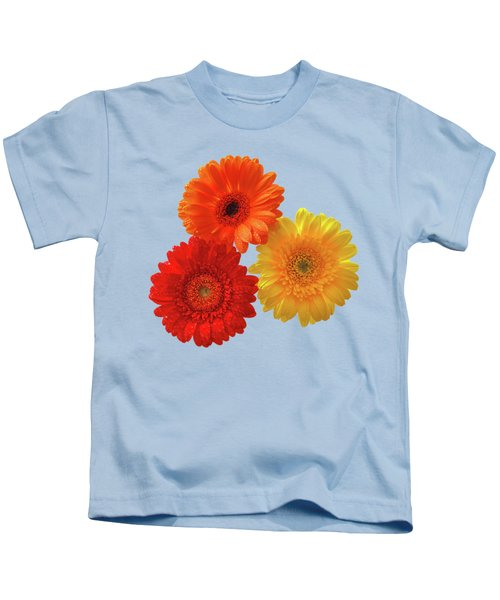 Happiness Orange Red And Yellow Gerbera On Blue Kids T-Shirt
