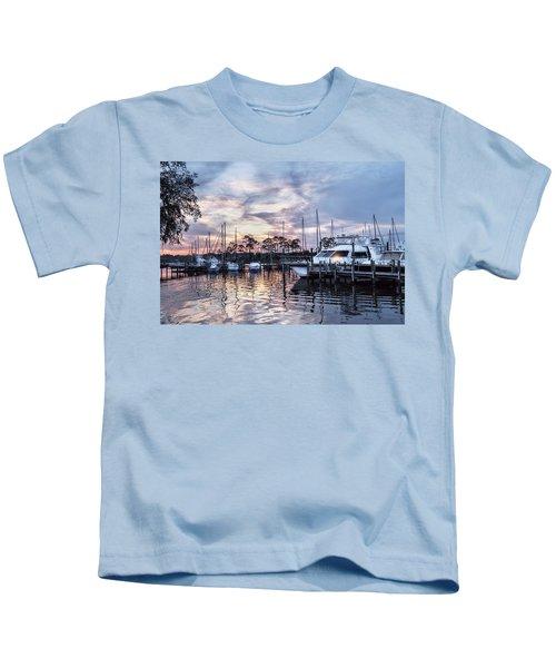 Happy Hour Sunset At Bluewater Bay Marina, Florida Kids T-Shirt