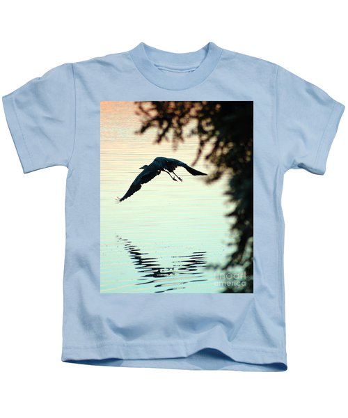 Heron At Dusk Kids T-Shirt