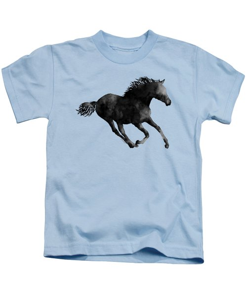 Horse Running In Black And White Kids T-Shirt