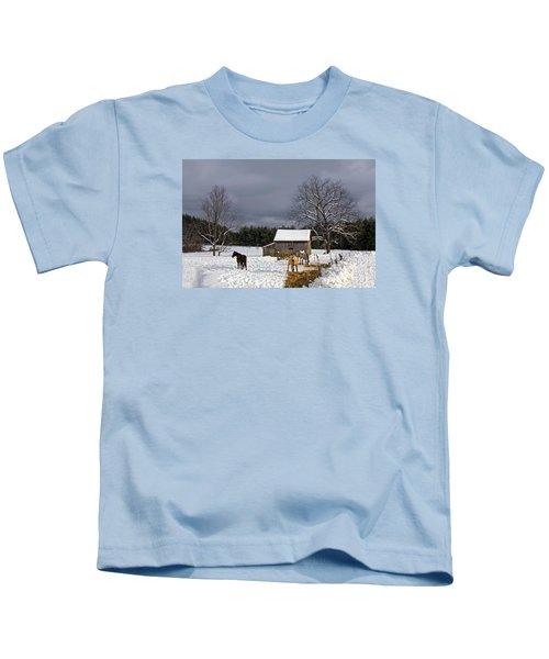 Horses In Snow Kids T-Shirt