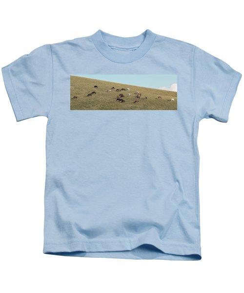 Horses On The Hill Kids T-Shirt