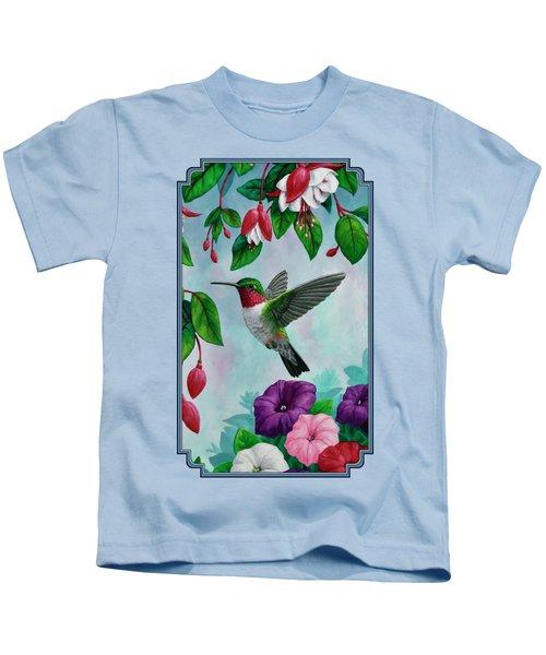 Hummingbird Greeting Card 1 Kids T-Shirt by Crista Forest