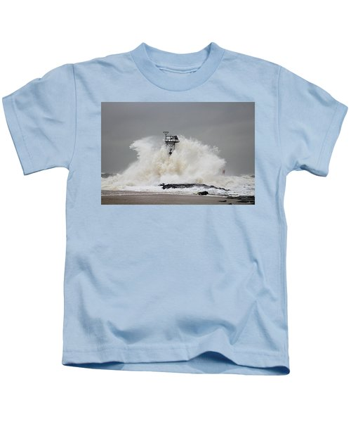 Hurricane Jose Wave At The Inlet Jetty Kids T-Shirt