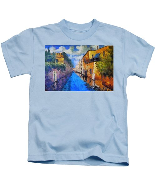 Impressionist D'art At The Canal Kids T-Shirt