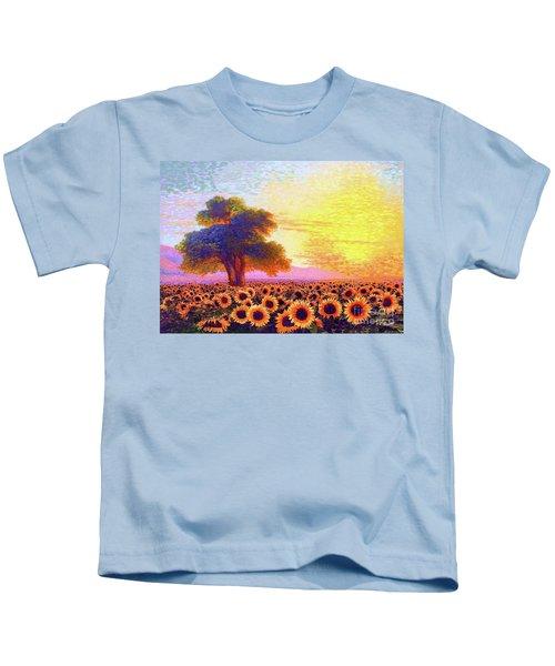In Awe Of Sunflowers, Sunset Fields Kids T-Shirt