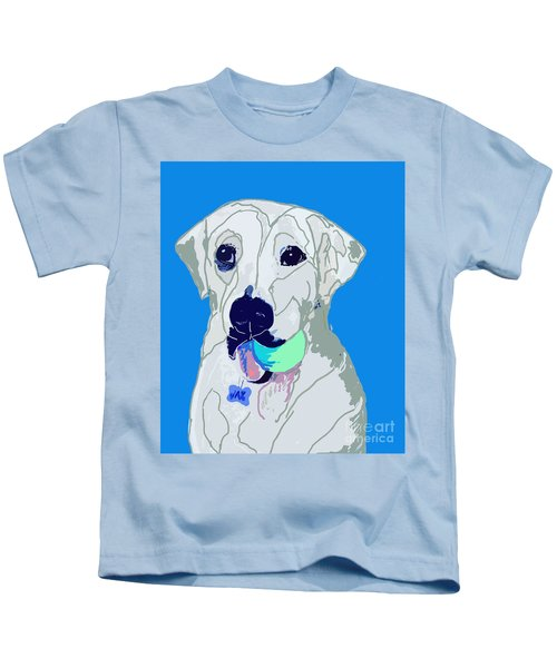 Jax With Ball In Blue Kids T-Shirt