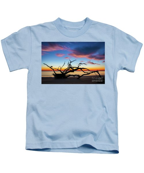 Jekyll Island Sunrise On Driftwood Beach Kids T-Shirt
