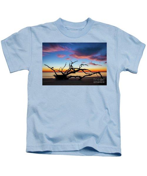 Jekyll Island Sunrise On Driftwood Beach Kids T-Shirt