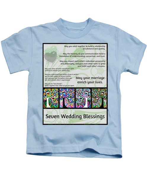 Jewish Seven Wedding Blessings Tree Of Life Hamsas Kids T-Shirt