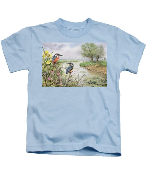Kingfishers On The Riverbank Kids T-Shirt