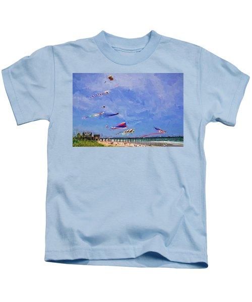 Kites At The Flagler Beach Pier Kids T-Shirt