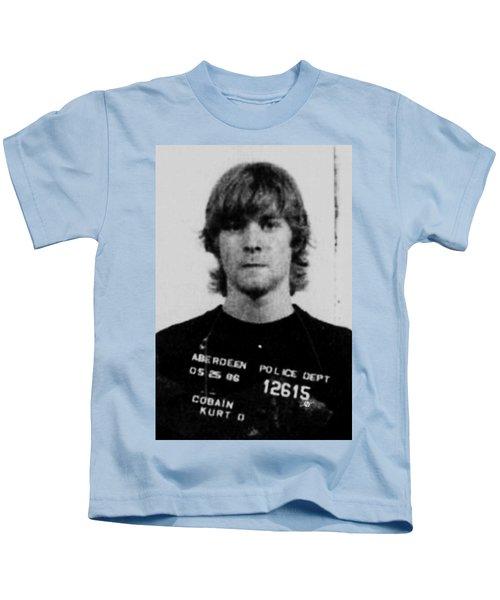 Kurt Cobain Mug Shot Vertical Black And Gray Grey Kids T-Shirt