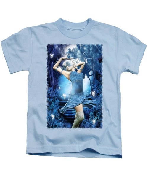 Lady Blue Fantasy Art Kids T-Shirt by Sharon and Renee Lozen