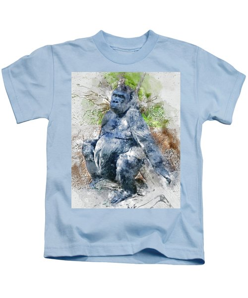 Lady Gorilla Sitting Deep In Thought Kids T-Shirt