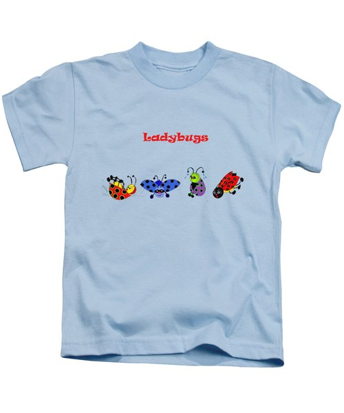 Ladybugs T-shirt Kids T-Shirt by Karen Beasley