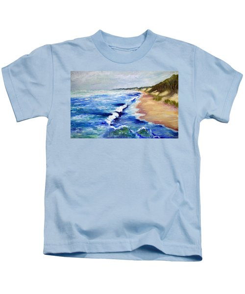 Lake Michigan Beach With Whitecaps Kids T-Shirt