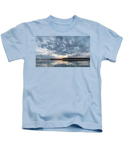 Large Panorama Of Storm Clouds Reflecting On Large Lake At Sunse Kids T-Shirt