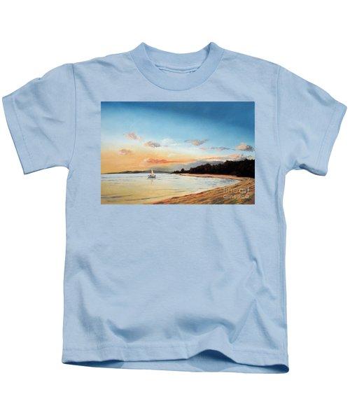 Late Sunset Along The Beach Kids T-Shirt