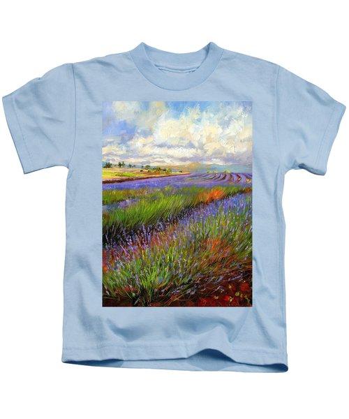 Lavender Field Kids T-Shirt