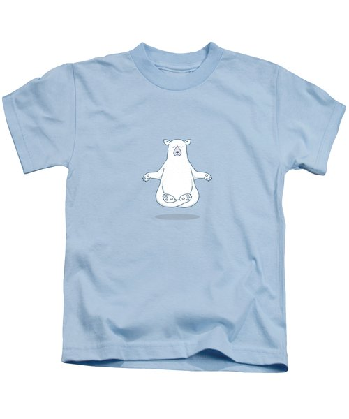Levitating Meditating Polar Bear Kids T-Shirt